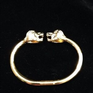 Kenneth Jay Lane Gold Tone & Crystal Lion Bracelet